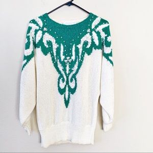 Vintage Pearl Embellished Dolman Knit Sweater